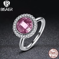 BAMOER New Collection 925 Sterling Silver Brilliant Legacy Stackable Rings Pink Clear CZ Ring Jewelry P7150