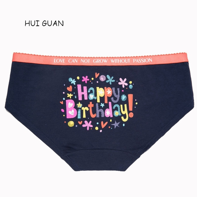 64abe7ae4139 HUI GUAN Colored Letter Happy Birthday Cartoon Cute Underwear Women Cotton  Seamless Briefs Lingerie Fashion Female Panties Thong