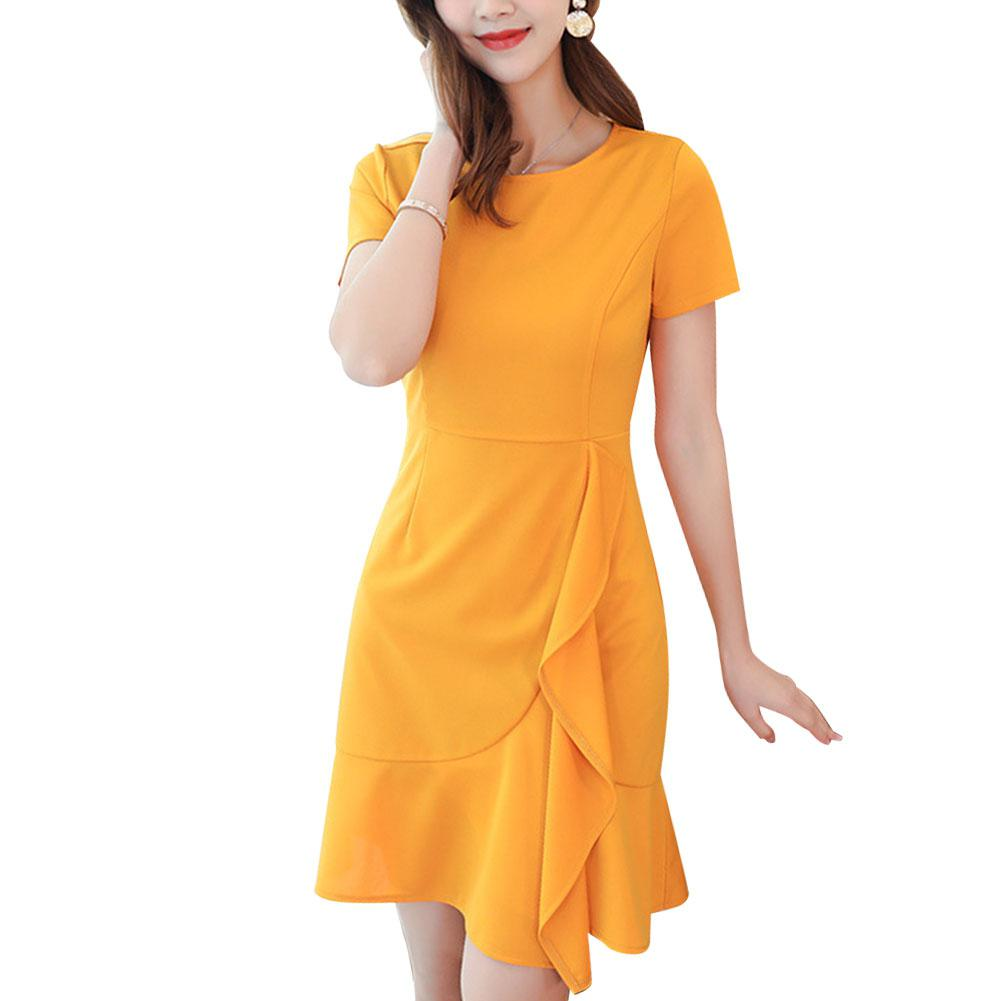 2019 New Yfashion Women Slim Fit Short Seeves Fashion Solid Color High Waist Dress