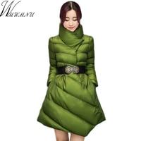 Wmwmnu 2017 High Quality Winter irregular mid long cotton Jacket Fashion Warm Down Jacket Parkas Women's Winter Coat with belt