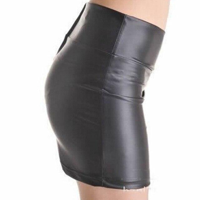 Women Sexy Bodycon Mini Skirt Party Clothing Faux Leather Zip High Wasit Female Short Pencil Skirts saias femininas S-3XL 2