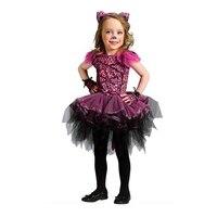 Enfants fille violet léopard conception cosplay costume halloween party enfants animaux empreinte imprimer tutu dress avec coiffe gants