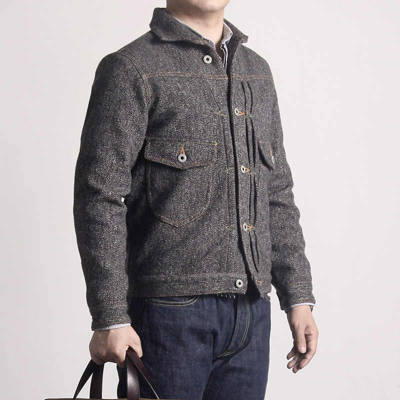 WT-0002 Read Description ! Asian size washed hand-made man's vintage super heavy 500GSM wool casual stylish jacket