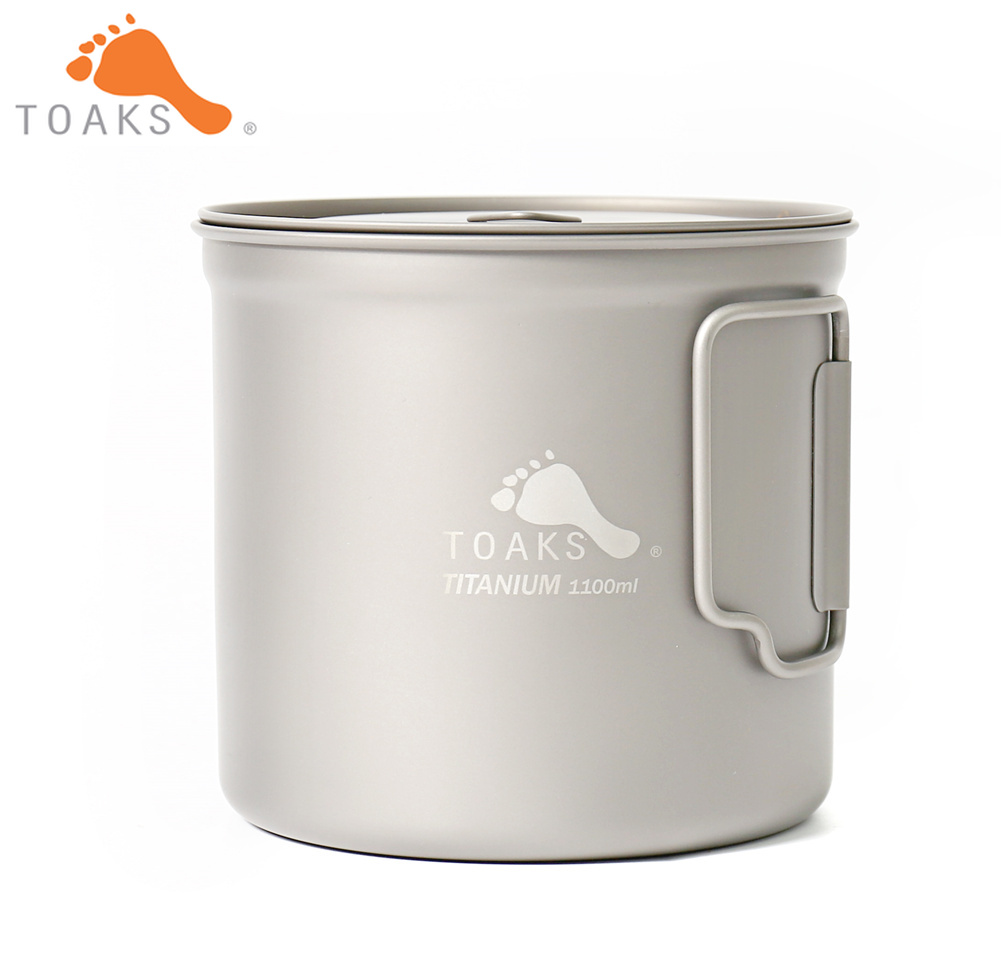 TOAKS POT-1100 Pure Titanium Cup Ultralight Outdoor Mug with Lid and Foldable Handle Camping Tableware 1100ml 136g toaks pot 1350 ultralight titanium 1350ml pot with bail handle outdoor camping tableware