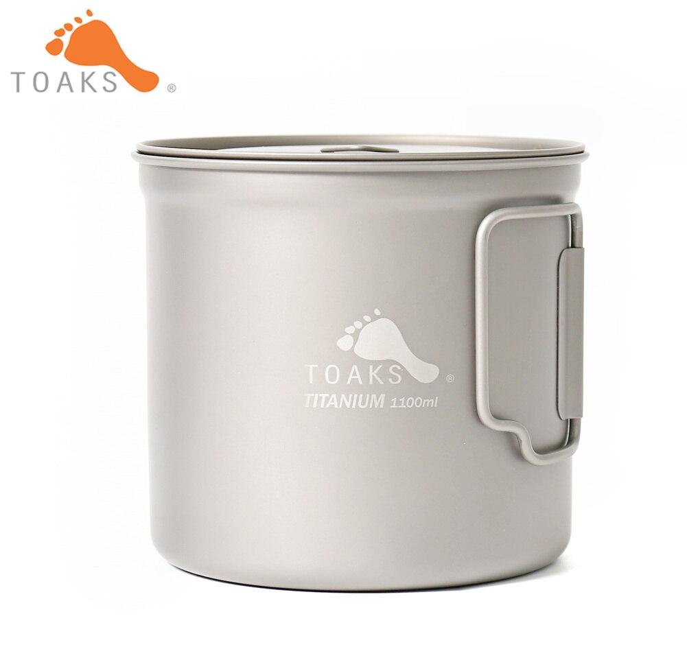 TOAKS POT-1100 pur titane tasse ultra-léger extérieur tasse avec couvercle et poignée pliable Camping vaisselle 1100 ml 136g