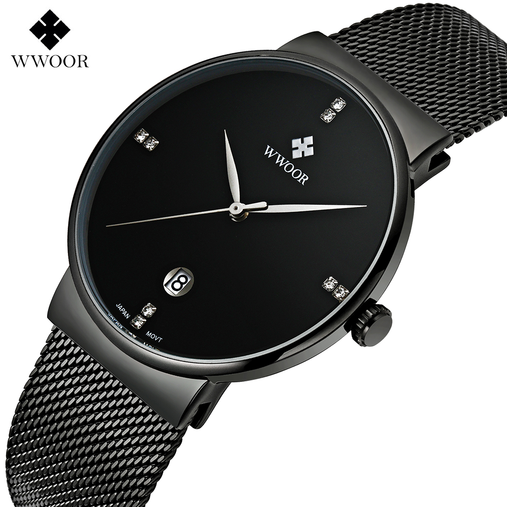 WWWOOR Fashion Luxury brand Watches men Stainless Steel Mesh strap Quartz watch Ultra Thin Dial Clock