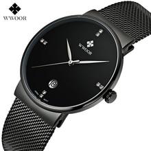 WWWOOR Mode marque De Luxe Montres hommes Acier Inoxydable Maille bracelet À Quartz montre Ultra Mince Cadran Horloge Hommes de Montres étanches