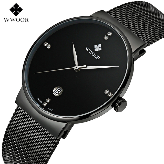 WWWOOR Fashion Luxury brand Watches men Stainless Steel Mesh strap Quartz watch Ultra Thin Dial Clock Men's Watches waterproof
