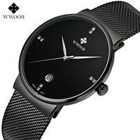 WWWOOR Fashion Luxury Brand Watches Men Stainless Steel Mesh Strap Quartz Watch Ultra Thin Dial Clock