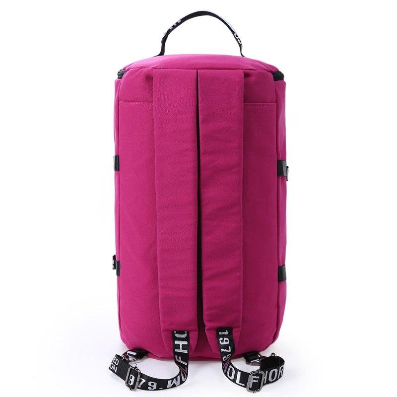 2018 Multifunctional Canvas Portable Sports Gym Backpack Shoulder Bag Men And Women Yoga Package Cylinder Package Gym Bag in Gym Bags from Sports Entertainment