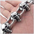Casting Cool Jewelry 316L Stainless Steel Silver Skull Skeleton Biker Jewelry Mens Boys Branelets Bangle High Quality Huge Heavy