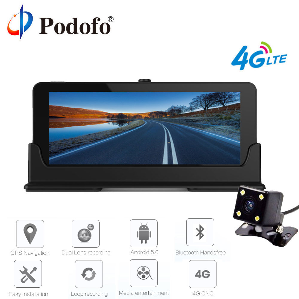 Podofo 4G 7 Car DVR GPS Navigation Bluetooth Android Automobile Dashcam HD Vehicle gps sat nav Free maps With Rear View Camera ...