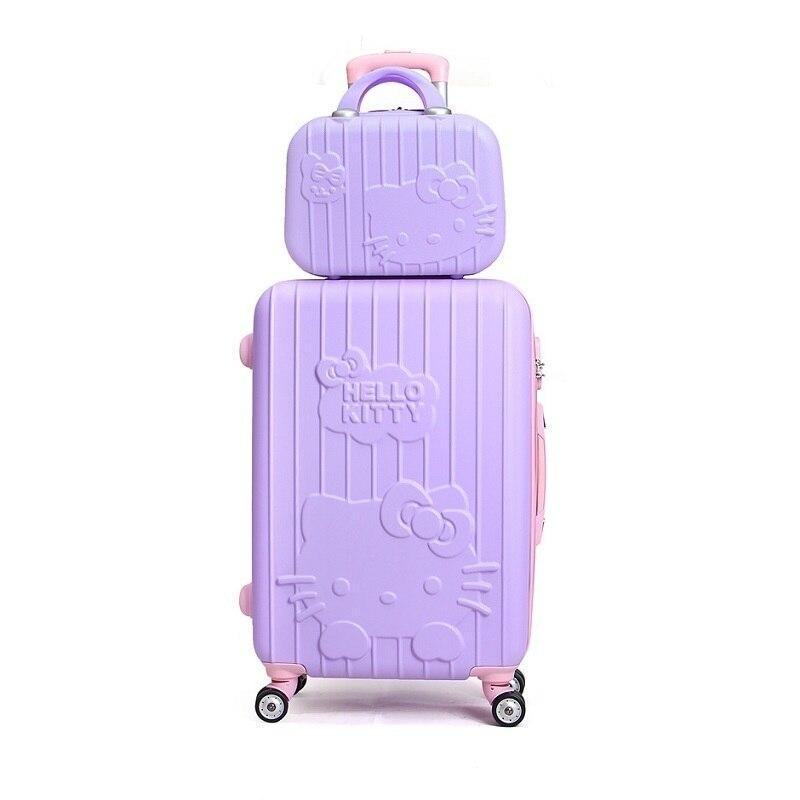 LUGGAGE 142024# ABS fashion KT cartoon cat picture SET super mute boarding mala maleta viaje hello kitty suitcase FREE SHIPPING