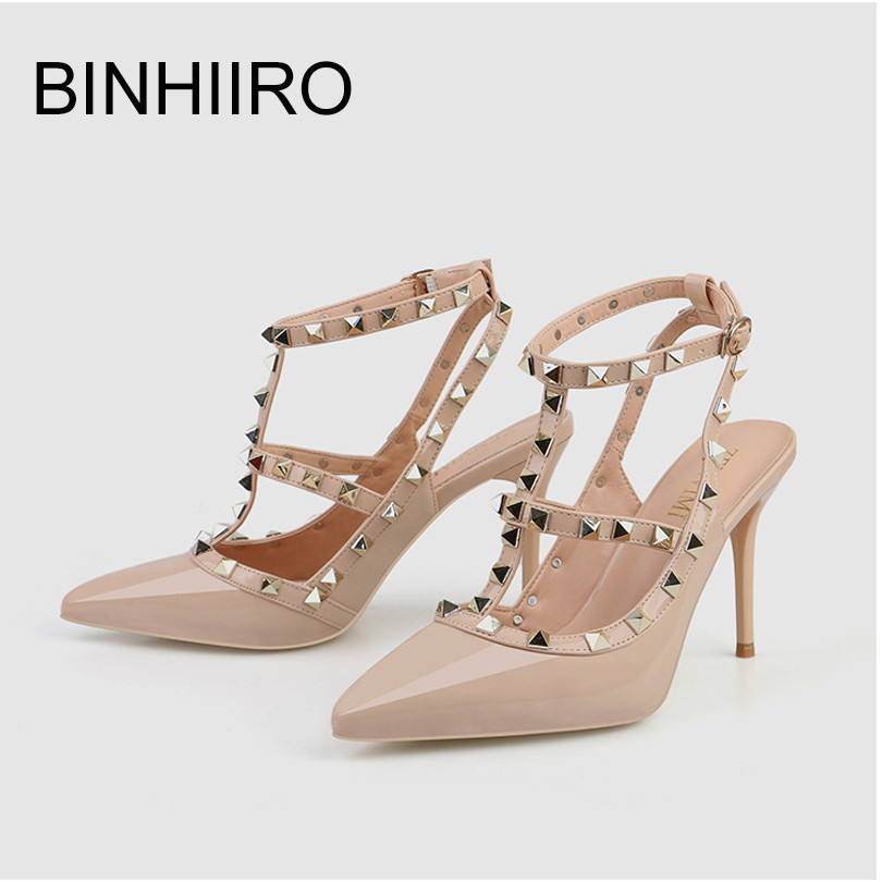 BINHIIRO Women's Sandals Heel Rivet Pointed Party Female Sexy Pumps Hollow Mouth Patent