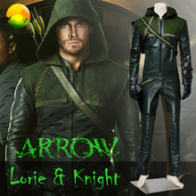 Custom Made Superhero Cosplay Oliver Queen Green Arrow Costume Suit Adult Male Halloween Costume