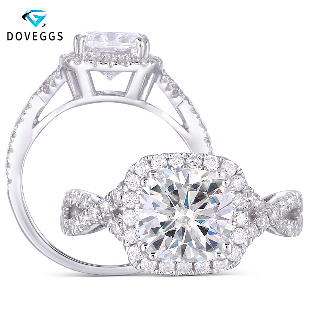 DovEggs Classic Sterling Solid 925 Silver Center 2ct 7 5 7 5mm GH Color Cushion Cut Moissanite Halo Engagement Ring with Accent in Rings from Jewelry Accessories