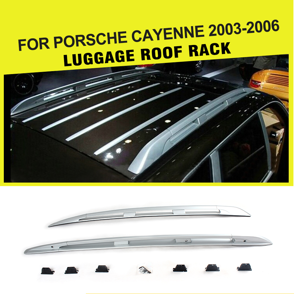 Car Alloy Aluminium Top Luggage Carrier Rail Bar Fit For Porsche Cayenne 2003 2006