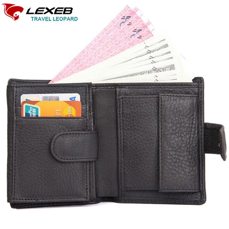 LEXEB Cow Leather Wallet For Men Credit Cards Case RFID Blocking Short Style Zipper Hasp ID Holders Bifold Coin Purses Black lexeb cow leather wallet for men credit cards case rfid blocking short style zipper hasp id holders bifold coin purses black