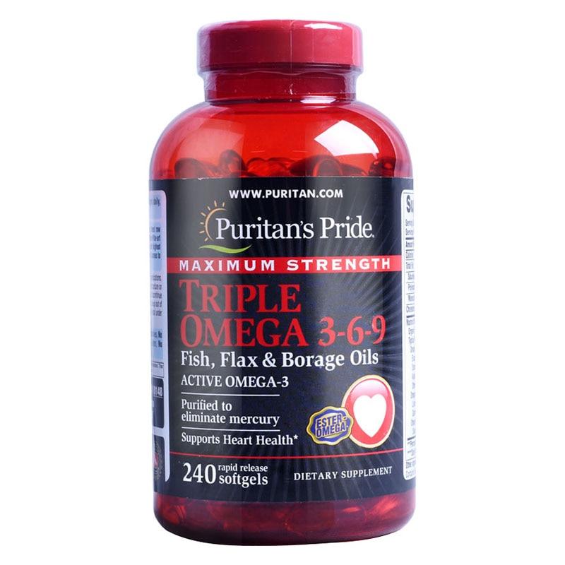 American Maximum Strength Triple For Omega 3-6-9 Fish, Flax & Borage Oils-240 Pcs Free Shipping цена и фото