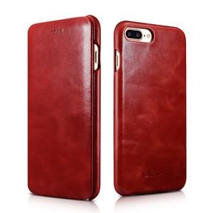 Image 5 - Icarer couro genuíno de luxo casos originais do telefone móvel para apple iphone 7 8/plus borda completa fechado proteção da aleta caso capa