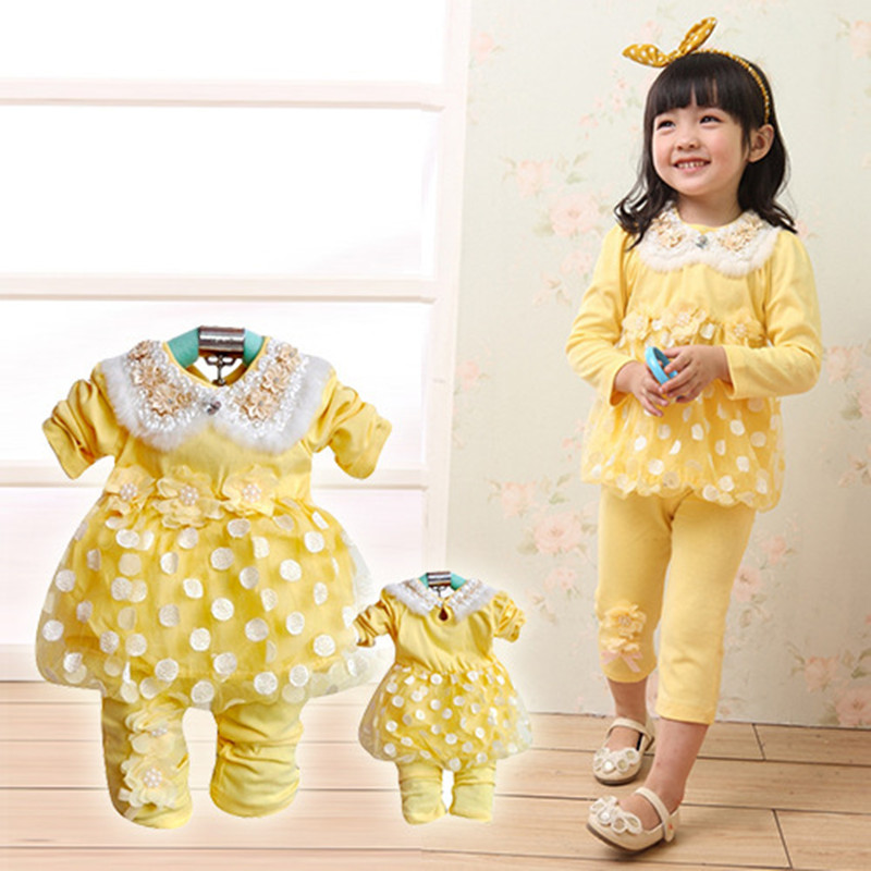 Anlencool Free shipping Special section baby clothing new fashion valley dot two-piece burr baby clothing girl's dress set anlencool 2014free shipping korean children girls dress dot skirt baby clothing baby dress clothing set baby girls clothing