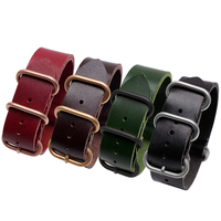 1PCS Heavy Duty Cow Leather Straps 20mm 22mm 24mm 26mm Leather Watch Band NATO Strap Zulu
