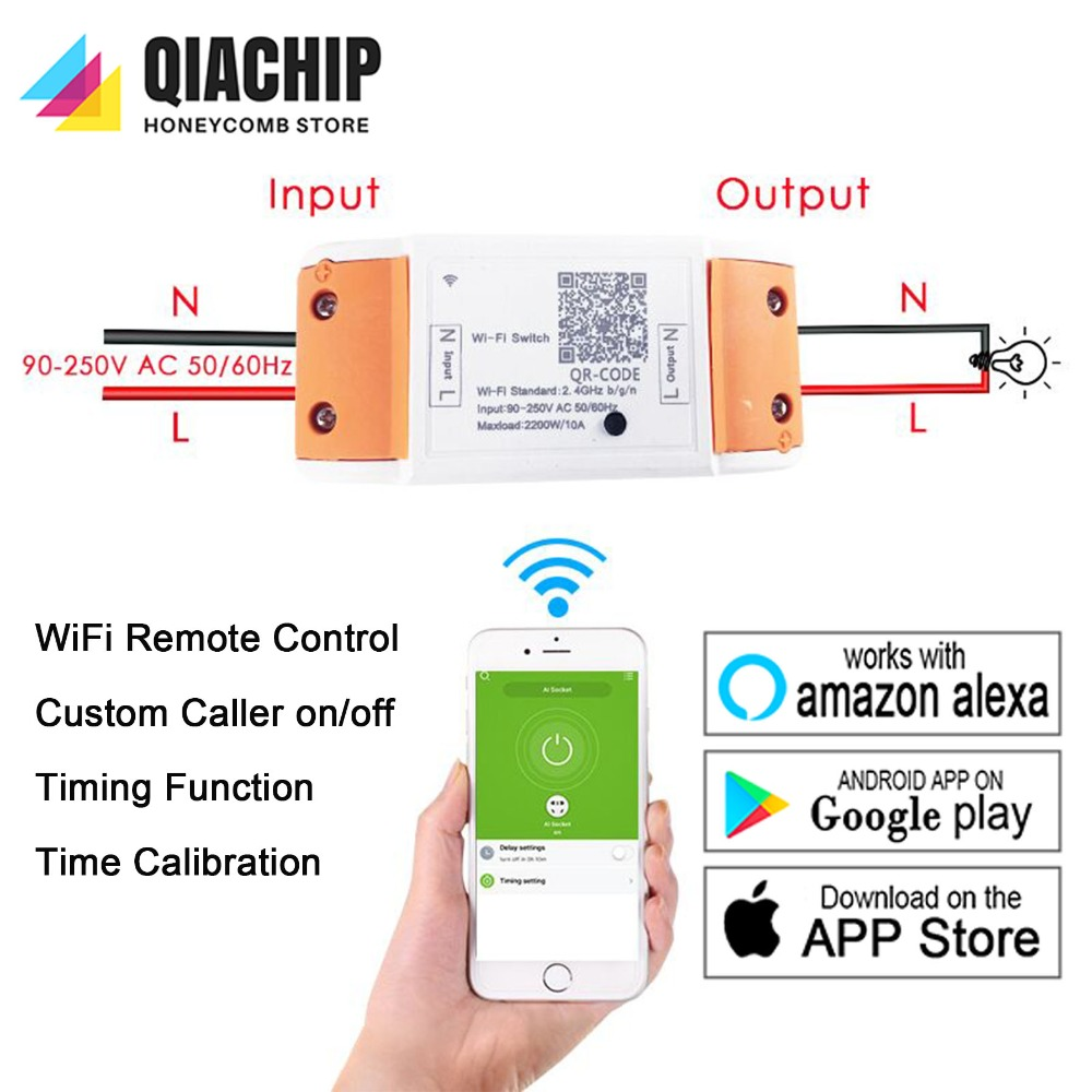 US $4 99 |WiFi Smart Switch Wireless Remote Control EU 110V 220V Light  Timer Relay Switches Home Automation Module Works With Amazon Alexa-in Home