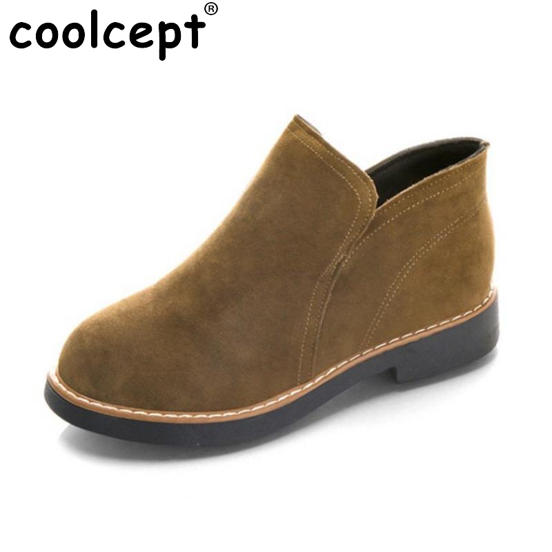 Coolcept  Women Ankel High Heel Boots Women Autumn Shoes Warm Short Boots Sexy Ladies Thick Heels Boots Short Botas Size 35-40 qiu dong in fashionable boots sexy and comfortable women s shoes the new national style high heel heel thick heel