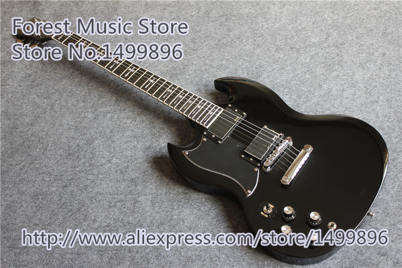 China OEM Left Handed Tony Lommi SG Electric Guitars Glossy Black Finish Mahogany Body For Sale top selling chinese sg 400 electric guitar zebra stripe finish guitars body