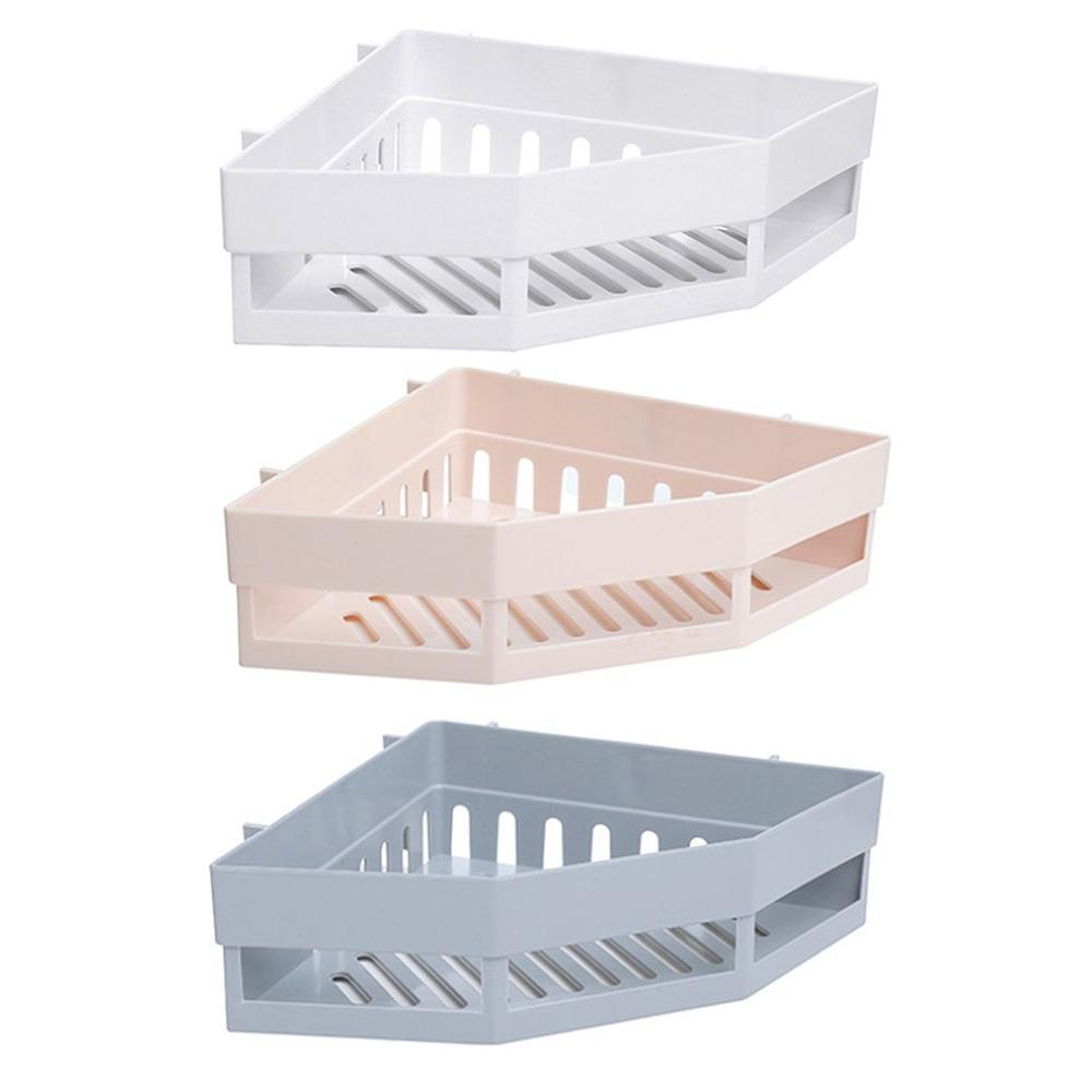 Punch-free Corner Shelf Bathroom Wash Rack Bathroom Seamless Wall-mounted Tripod Storage Rack Drop Shipping