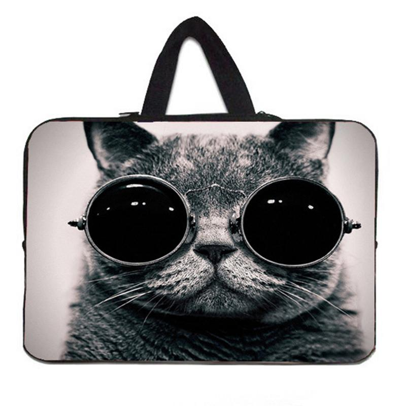 Sunglasses Cat Laptop Sleeves Case Bag For 7.9 10 11.6 13.3 15 15.6 17.4 Netbook Neoprene Computer Carry Pouch For Macbook Asus