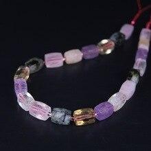 21pcs/strand,Natural Multicolor Crystal Quartz Faceted Cube Nugget Pendant Beads,Cut Rough Stone Necklace Bracelet Jewel Making