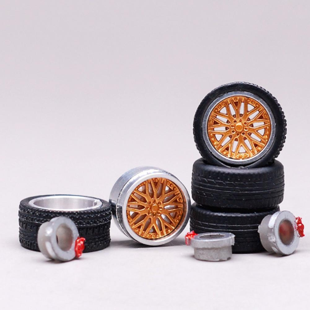 1:64 Car Wheels Tire Modified Vehicle Alloy Rubber Car Refit Wheels For 1/64 Cars Suitable For Some Cars 4 Wheels One Set