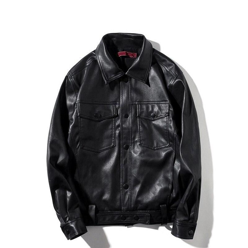 2018 Herbst Plus Größe Vintage Herren Jacken Mantel Motorrad Pu Männlichen Leder Jacke Männer Casual Moto Front Tasche 792