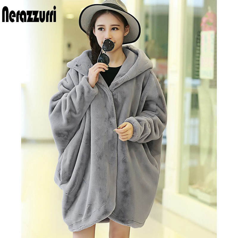 Nerazzurri Winter Faux Fur Coat Women 2019 With Hood Batwing Sleeve Oversized thicken Furry fluffy asymmetric