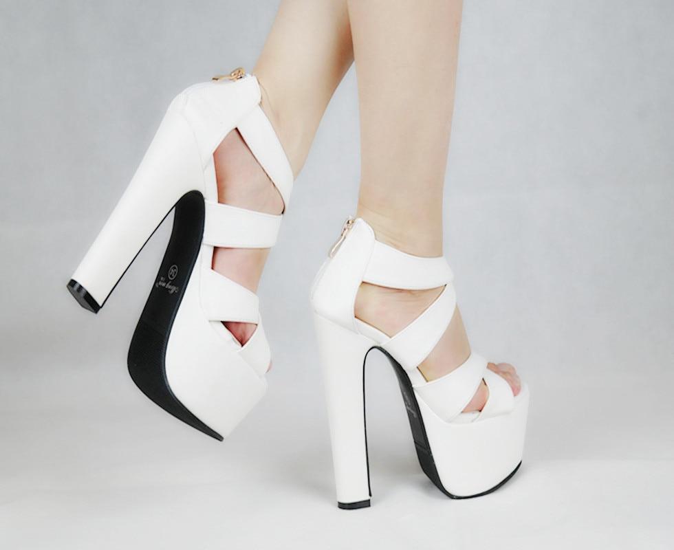 2017 Sexy Peep Toe Weiß Gladiator Sommer Frauen Schuhe Starke Ferse Frau Pumpen Zipper Hochzeit/party Schuhe Größe 34-43 Extrem Effizient In Der WäRmeerhaltung