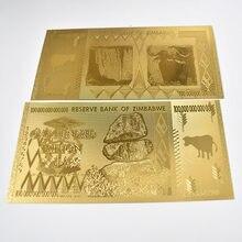 Złoty 100 bilionów złota folia Zimbabwe Gold banknoty kolekcja