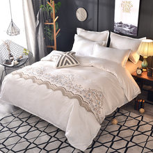 White Floral Bedding Sets Quilt Bed Pillow Duvet Cover Set Luxury Single/Double/King Size 2/3pcs Boho Home Textile No Sheet(China)