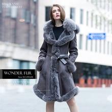 Wonderful Design Double Face Rex Rabbit Fur Jacket For Women Morden Rex Rabbit Fur Coat With Full Cap Warm Real Fur Dress