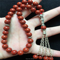 2016 New Arrival 8mm Natural Red Ágata Pedra Forma Redonda de 33 Contas de Oração Islâmica Muçulmana Tasbih Allah Para Homens & das mulheres