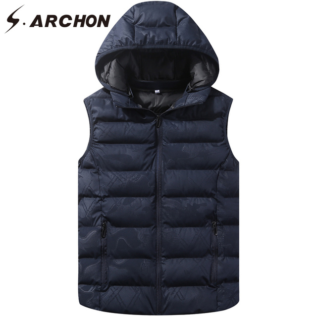 S.ARCHON Winter Tactical Sleeveless Vest Men Military Cotton Hoodie Male Casual Street Vest Multicam Photography Waistcoats