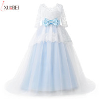 Light Blue   Flower     Girl     Dresses   With Sash Half Sleeves 2018 Appliqued Pageant   Dresses   For   Girls   Lace Communion Princess   Dress
