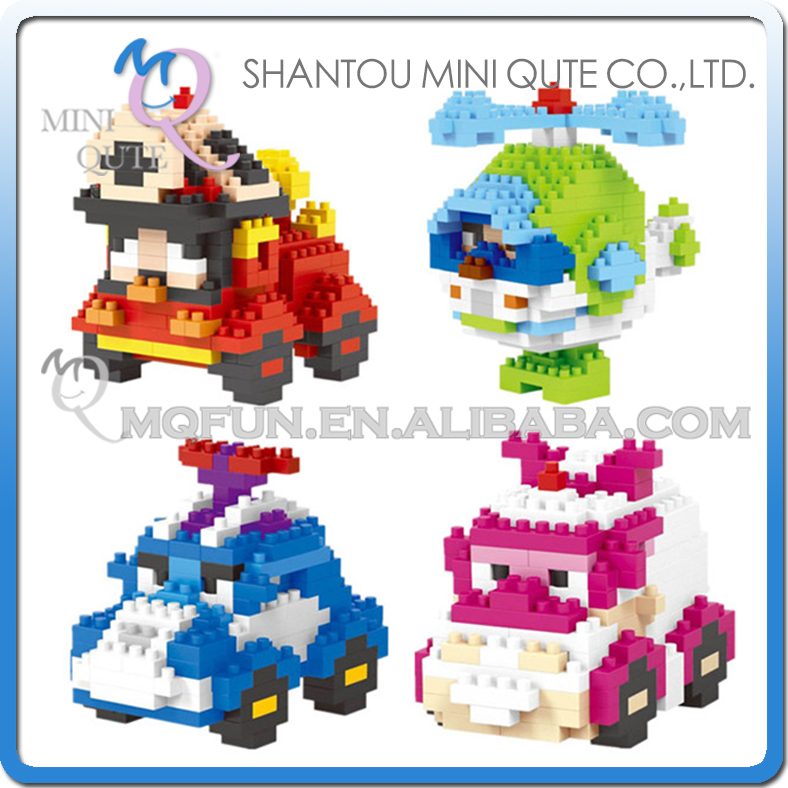 Mini Qute LNO 4 styles kawaii 3d plastic building blocks cartoon car plane vehicle Game model children gift educational toy
