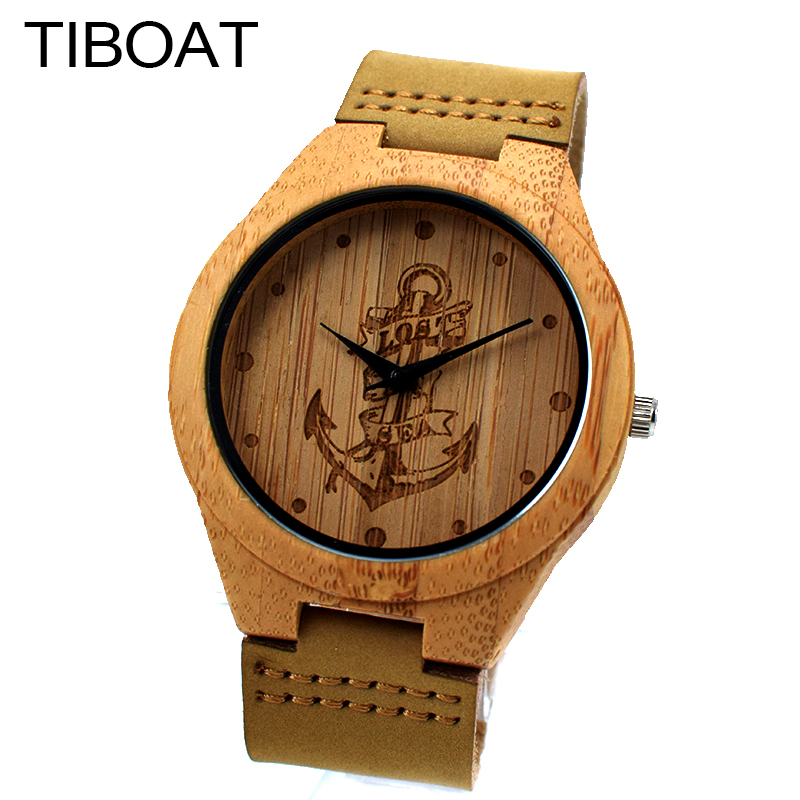 TIBOAT Unique Vogue Mens Bamboo Wooden Watch Lost sea Anchors Quartz Outdoor Sport Watches Clock With Leather Strap Montre Homme 2016fashion top luxury brand unique vogue mens quartz watches wooden outdoor sport watches clock casual wood watch