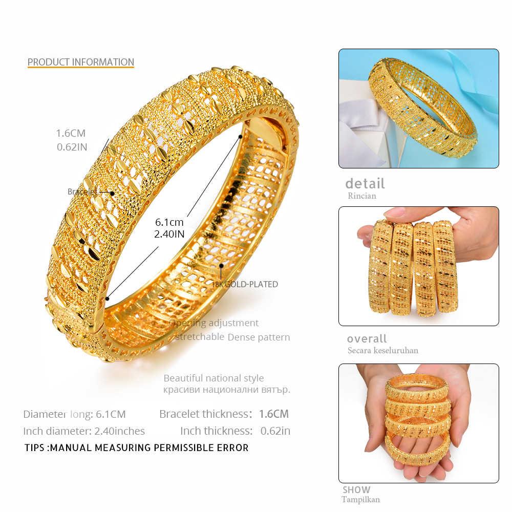 WANDO 2 יח'\חבילה תכשיטי דובאי האתיופית יוקרה עיצוב זהב צבע לב דפוס שרוול נשים רחב צמיד & צמיד חתונה Giftb154