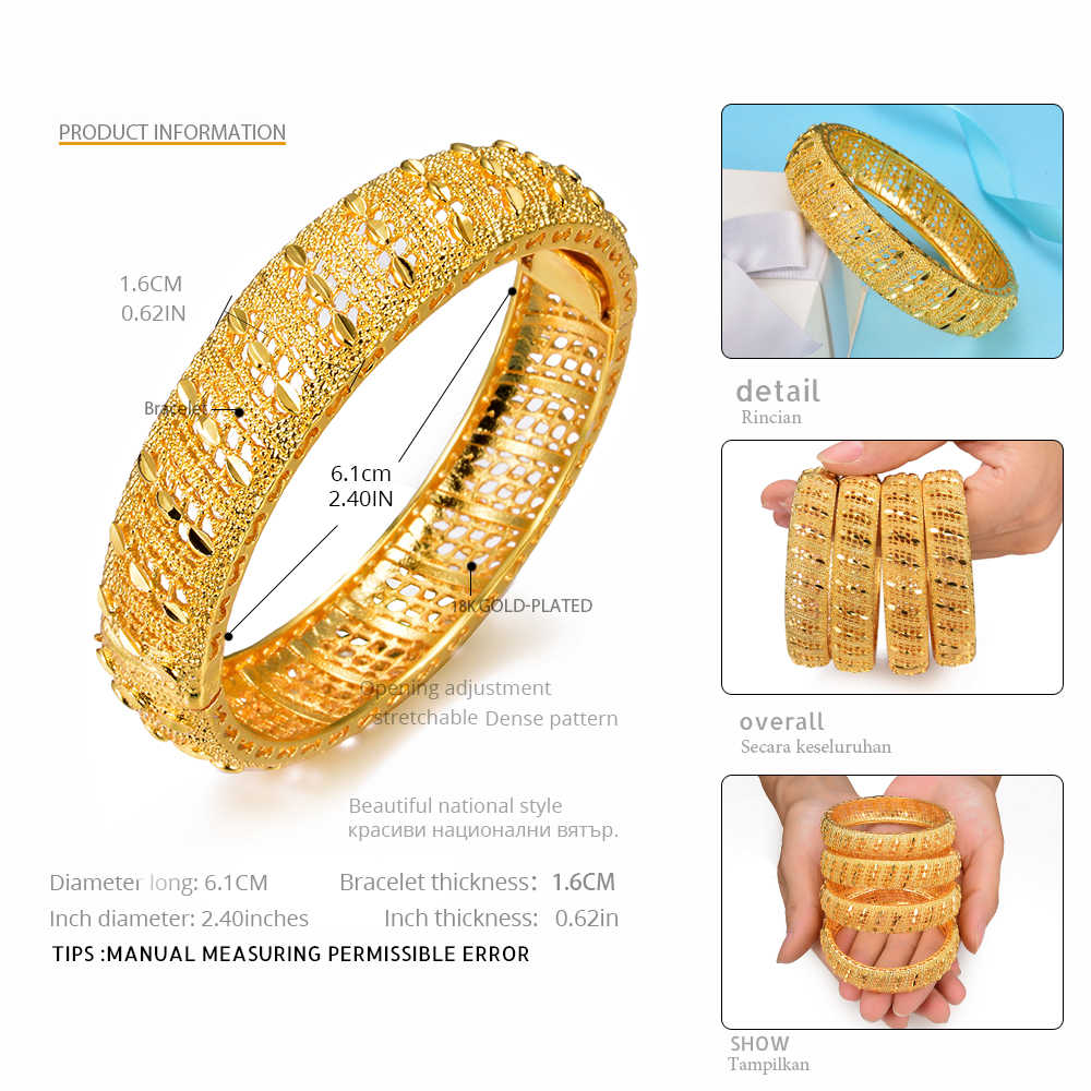 WANDO 2pcs/lot Jewelry Dubai Ethiopian Luxury Design Gold Color Heart Pattern Cuff Women Wide Bracelet & Bangle Wedding Giftb154