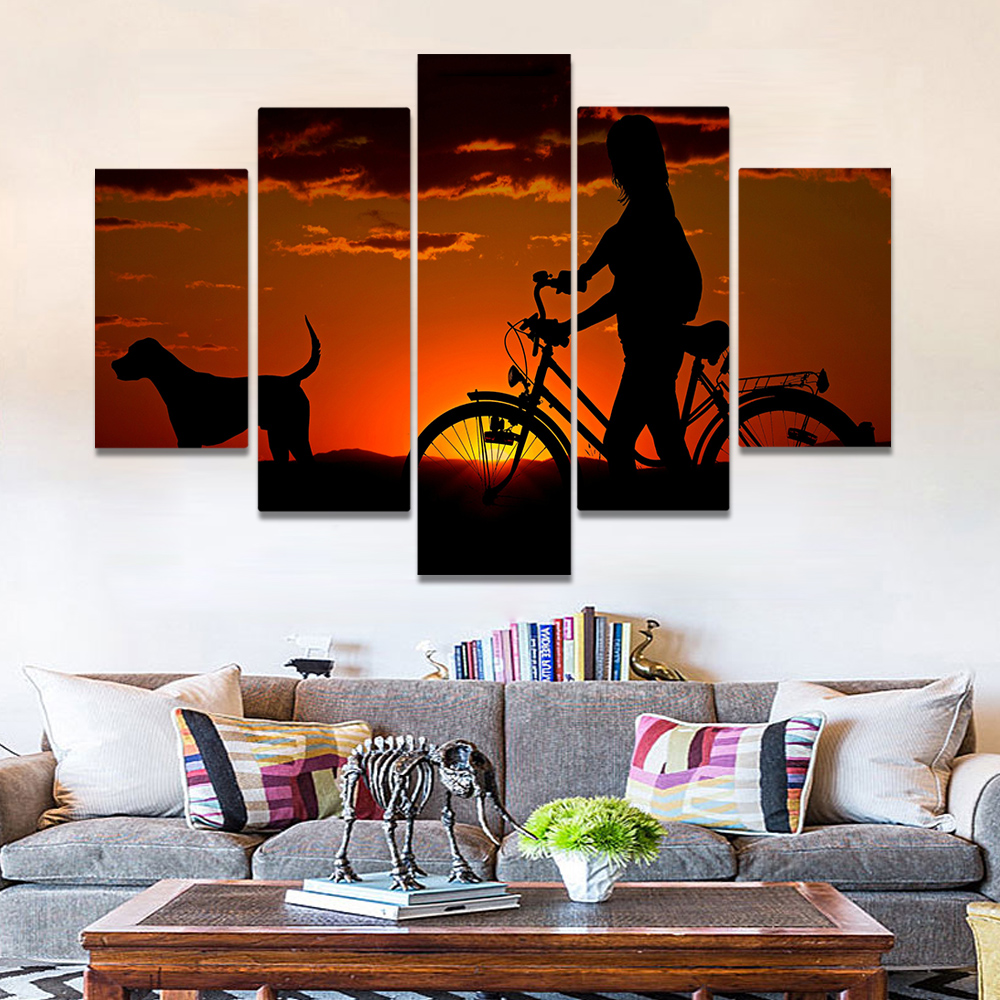 Unframed Canvas Painting Dusk Bicycle Dog Girl Homeward Picture Prints Wall Picture For Living Room Wall Art Decoration