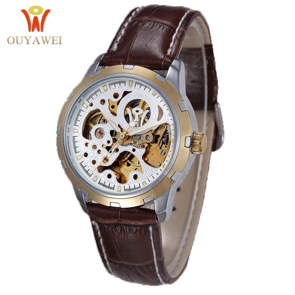 Automatic Mechanical Watch Men Hot Skeleton Watches Gold Wristwatch Luxury Brand OUYAWEI Men's Watch