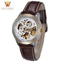 Automatic Mechanical Watch Men Hot Skeleton Watches Gold Wristwatch Luxury Brand OUYAWEI Men's Watch все цены