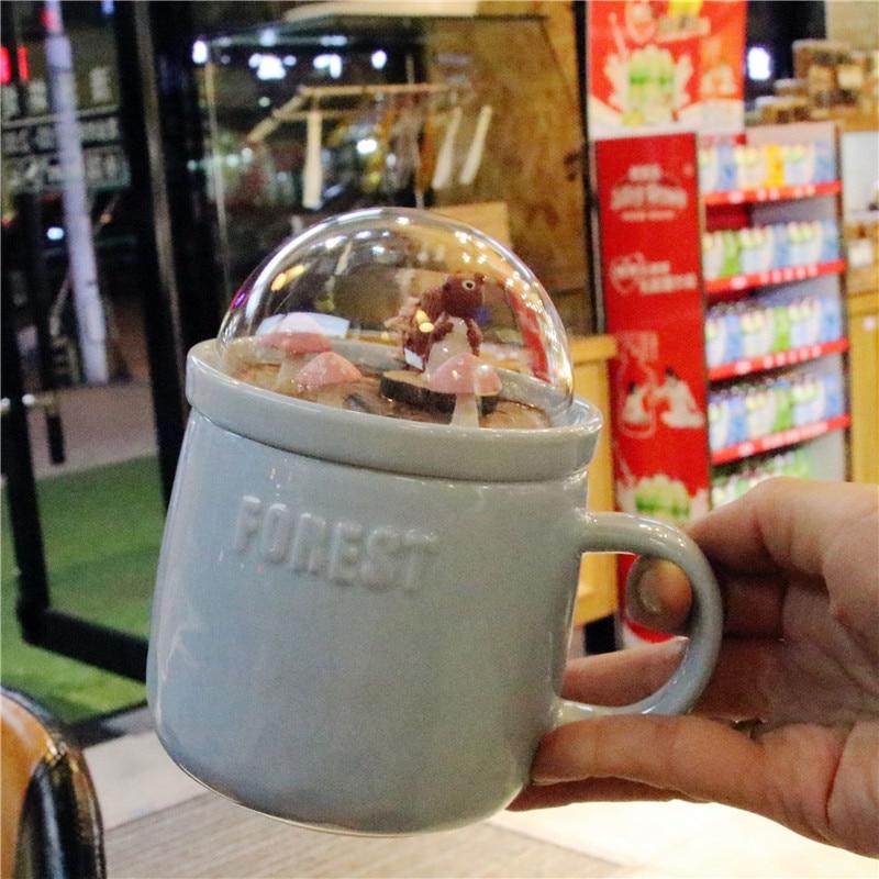 Micro Landscape Milk Cups Animal Coffee Mugs 400ml Creative Cartoon Cup Ceramic Mug with Lid Couples Breakfast Mug Beauty Gifts